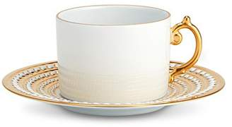 L'OBJET Perlée teacup and saucer set Gold