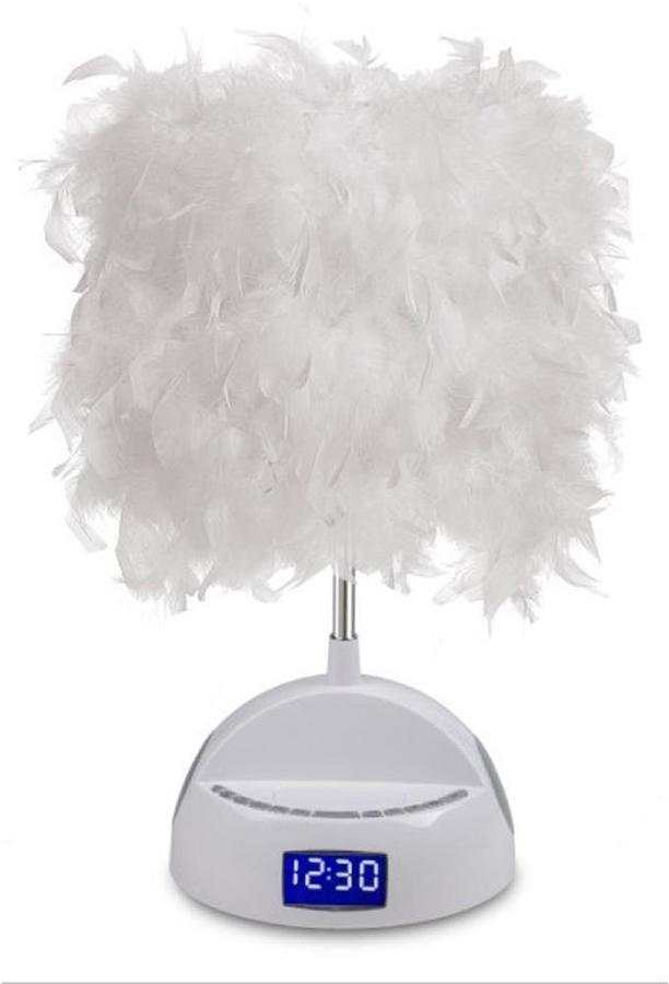 FM LighTunes 17 in. White Bluetooth Speaker Lamp with Alarm Clock, Radio, USB Charging Port and Feather Shade