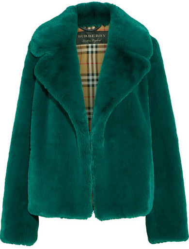 Burberry - Faux Fur Coat - Jade