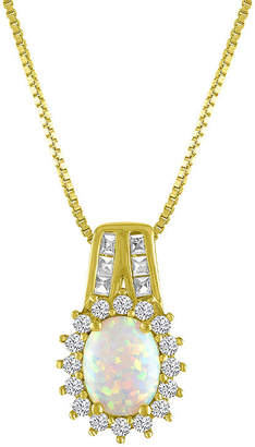 FINE JEWELRY Womens Lab Created Multi Color Opal 14K Gold Over Silver Pendant Necklace