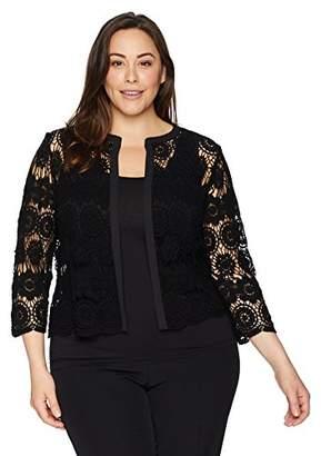 Anne Klein Women's Size Plus Crochet Cardigan