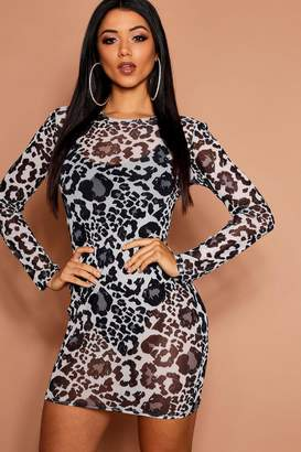 boohoo Leopard Mesh Print Bodycon Dress