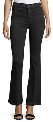 Rag & Bone Bella Slim Flared Jeans with Slit Hem, Worn Black