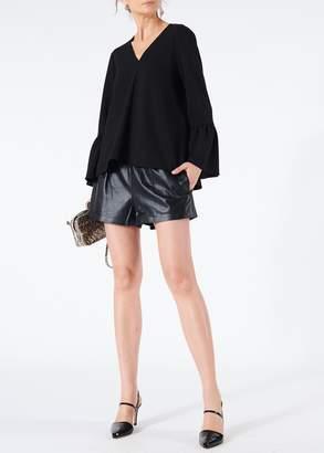 Tibi Tissue Leather Pull On Shorts