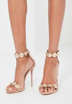 Missguided Nude Embellished Strap Heeled Sandals