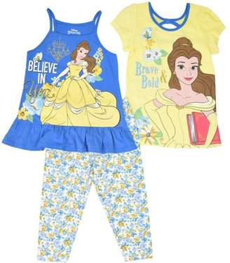 Beauty and the Beast Beauty & the Beast Toddler Girl Puff Sleeve T-Shirt, Tank Top & Leggings, 3pc Outfit Set