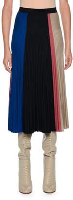 Agnona Knitwear Wool-Blend Colorblock Midi Skirt, Dark Blue