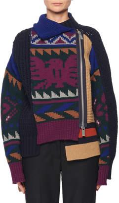 Sacai Side-Zip Intarsia Knit Cardigan