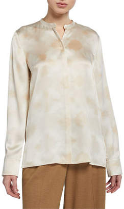 Vince Winter Tie Dye Long-Sleeve Button-Down Silk Blouse