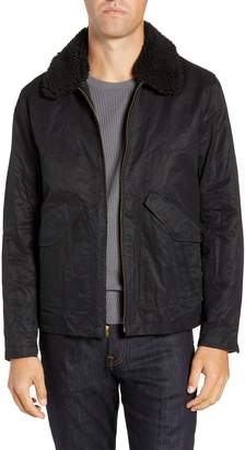 Bonobos Slim Fit Waxed Cotton Blend Jacket with Removable Faux Shearling Collar