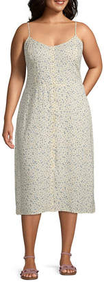 Arizona Sleeveless Floral A-Line Dress-Juniors Plus