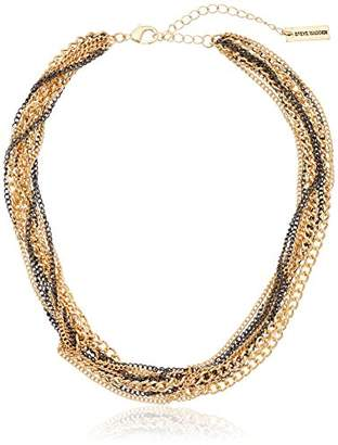 Steve Madden 2 Tone Multi Row Knotted Gold Necklace