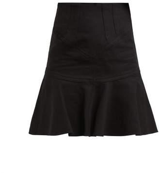 Isabel Marant Kelly Flared Cotton Blend Mini Skirt - Womens - Black
