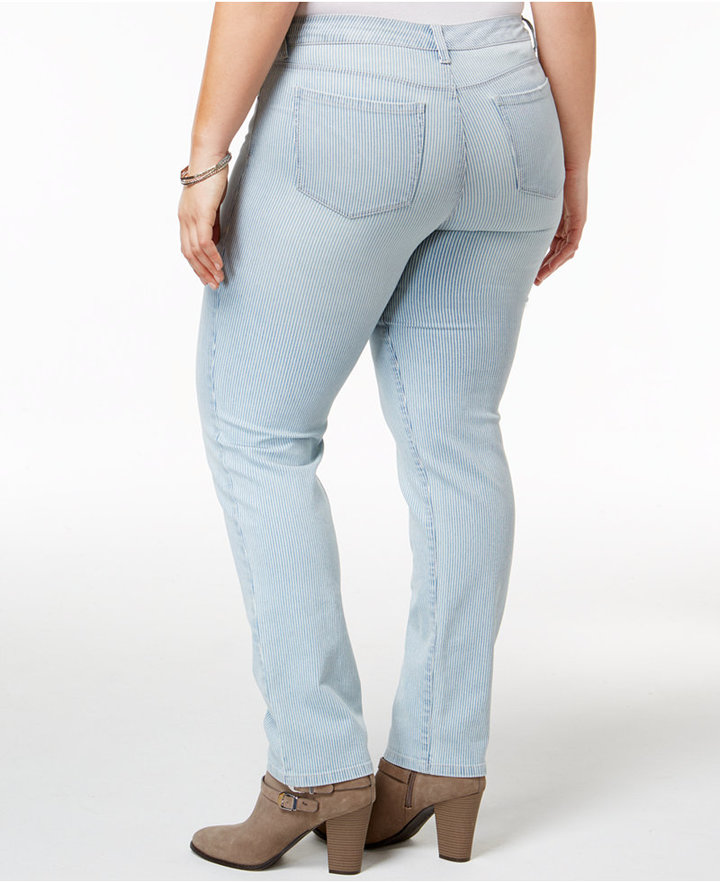Style&Co. Style & Co Plus Size Striped Slim-Leg Jeans, Created for Macy's