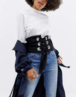 Asos Design Stretch Corset Belt With Eyelet Detail