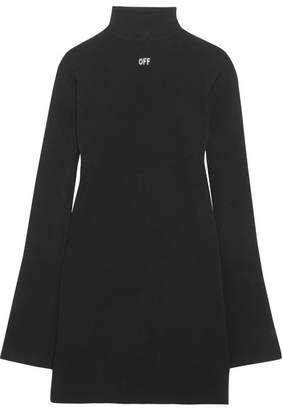 Off-White - Angel Open-back Stretch-knit Mini Dress - Black $910 thestylecure.com
