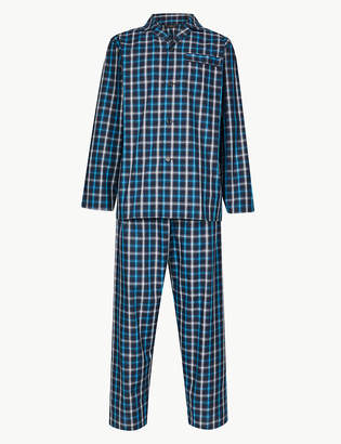699ee694c Marks and Spencer Cotton Blend Checked Pyjama Set