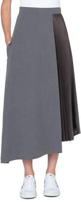 Akris Plisse-Side Asymmetric Midi Skirt, Dark Gray