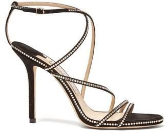 Jimmy Choo Dudette 100 Crystal Embellished Suede Sandals - Womens - Black