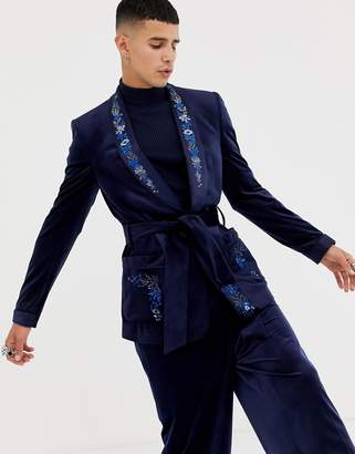 Asos EDITION skinny blazer in navy velvet with embroidery