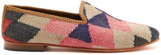 ARTEMIS DESIGN SHOES Diamond-patterned woven Kilim and leather loafers
