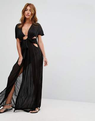 Asos Design Beach Maxi Cover Up With Wrap Front Detail In Slinky