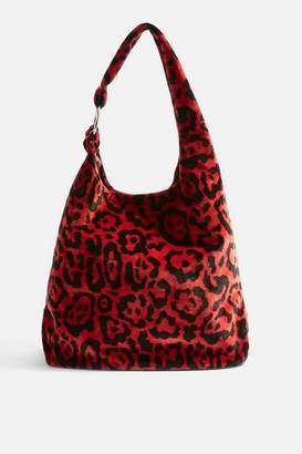 Topshop Kenya Leopard Red Tote Bag