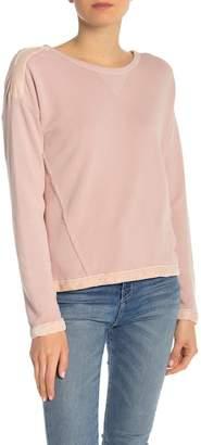 Splendid Velvet Trim Long Sleeve Knit Sweatshirt