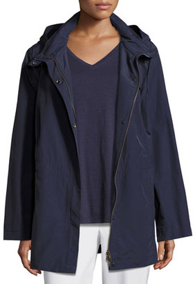 Eileen Fisher Nylon Jacket with Hood, Midnight $258 thestylecure.com