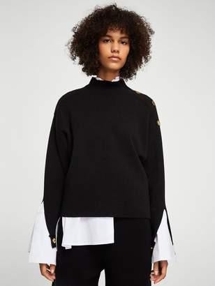 MANGO Gold Button Knit
