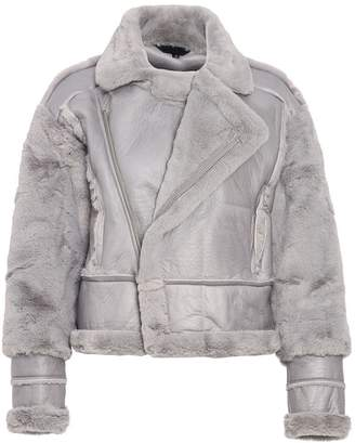 Quiz Grey Faux Fur Lined Chunky Biker Jacket