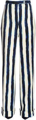 Alberta Ferretti Striped Wool Blend Flannel Pants