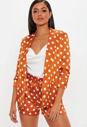Missguided Orange Polka Dot Gathered Sleeve Blazer