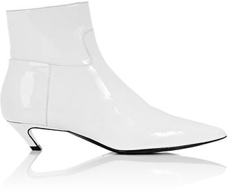 "Balenciaga Women's ""Broken Heel"" Patent Leather Ankle Boots-WHITE $825 thestylecure.com"