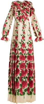 Gucci Le Jardin de Rose silk-twill dress