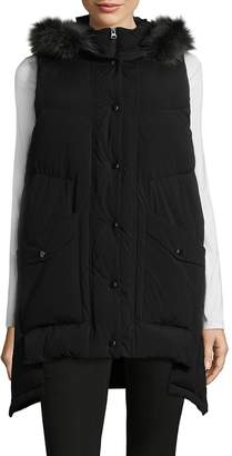 RENVY Women's Raccoon Fur Down Vest - Black, Size x-large