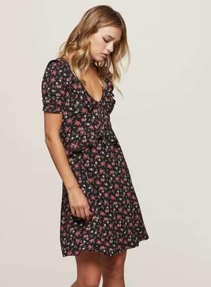 Miss Selfridge Black floral print frill tea dress