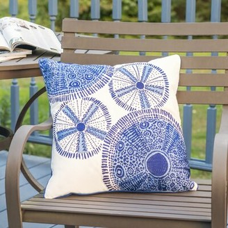 Highland Dunes Michale Sea Urchin Embroidered Indoor/Outdoor Throw Pillow Highland Dunes
