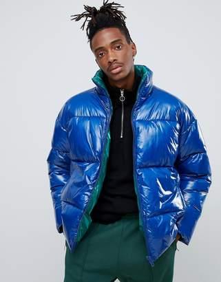 Asos Design DESIGN puffer jacket in high shine in colbalt