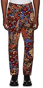 Sacai Men's Abstract-Floral Corduroy Pleated Trousers