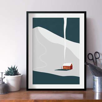 Keeler & Sidaway Winter Cabin Art Print