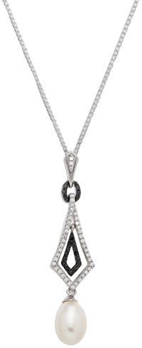 Lord & Taylor Sterling Silver Necklace with Pearl & Black Diamond Pendant