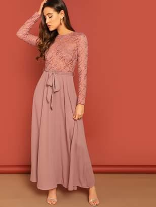 Shein Lace Bodice Tie Waist Formal Dress