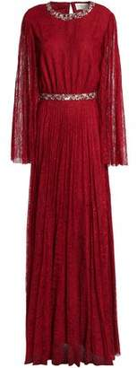 Sachin + Babi Embellished Pleated Corded Lace Gown