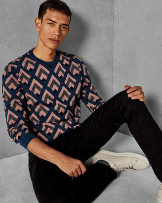Ted Baker ROXWELL Geo jacquard wool sweater
