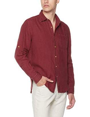 Isle Bay Linens Men's Slim-Fit 100% Linen Long-Sleeve Woven Vintage Shirt