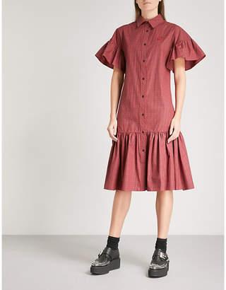 McQ Gingham gathered cotton shirt dress