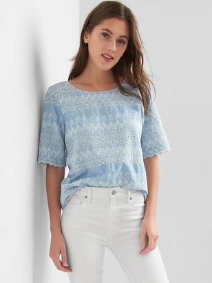 Tencel® denim scalloped top $59.95 thestylecure.com
