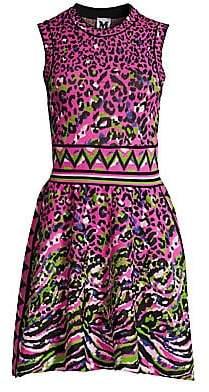 M Missoni Women's Leopard Knit Flare Dress