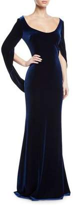 Badgley Mischka Velvet Cowl-Sleeve Gown